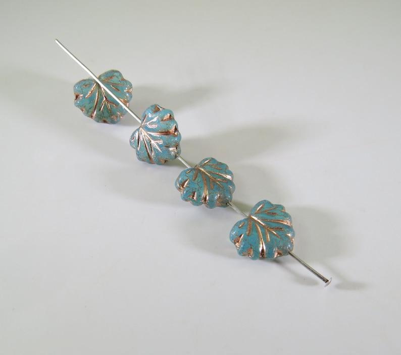 Sea Green Maple Leaf Beads Metallic Golden Copper Glaze 10 x 13MM Pressed Opaque Czech Glass 10 Beads NPRLV004