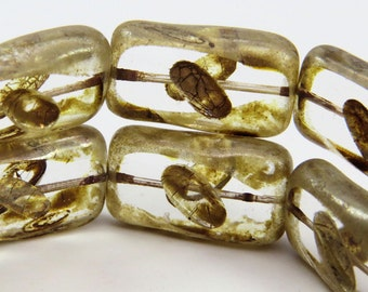 Czech Clear Glass Rectangle Beads Picasso Glaze 12 x 20MM Carved Rice Design Table Cut 4 Beads PTCREC-R-001-57