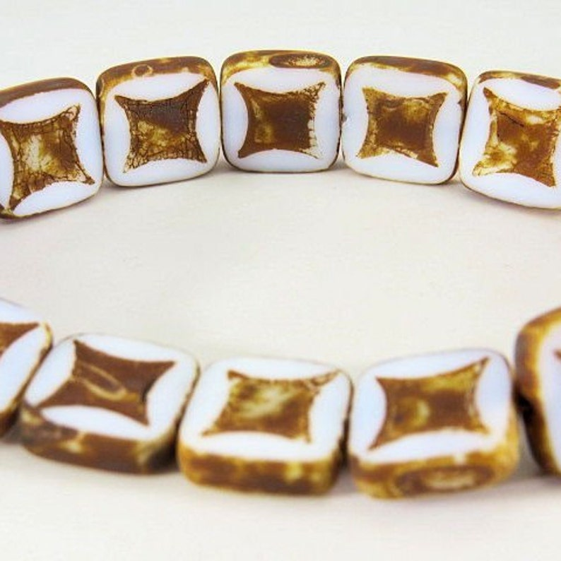 White Square Beads with Astroid Design and Dark Picasso Glaze 14MM Opaque Table Cut Czech Glass 4 Beads PTCSQAS005