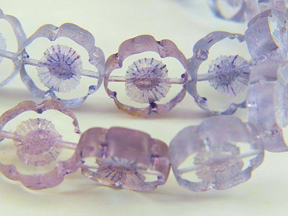 Dusty Rose 8MM Hawaii Flower Beads Light Picasso Glaze Antiqued Pink Czech Glass Carved Small Table Cut Plumeria 10 Beads PTC8HA005
