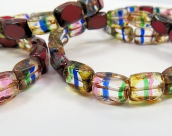 Rectangle Czech Glass  Multi Color Streaked Mix Translucent Opaque Clear Picasso 7 x 9MM 15 Beads CTC026