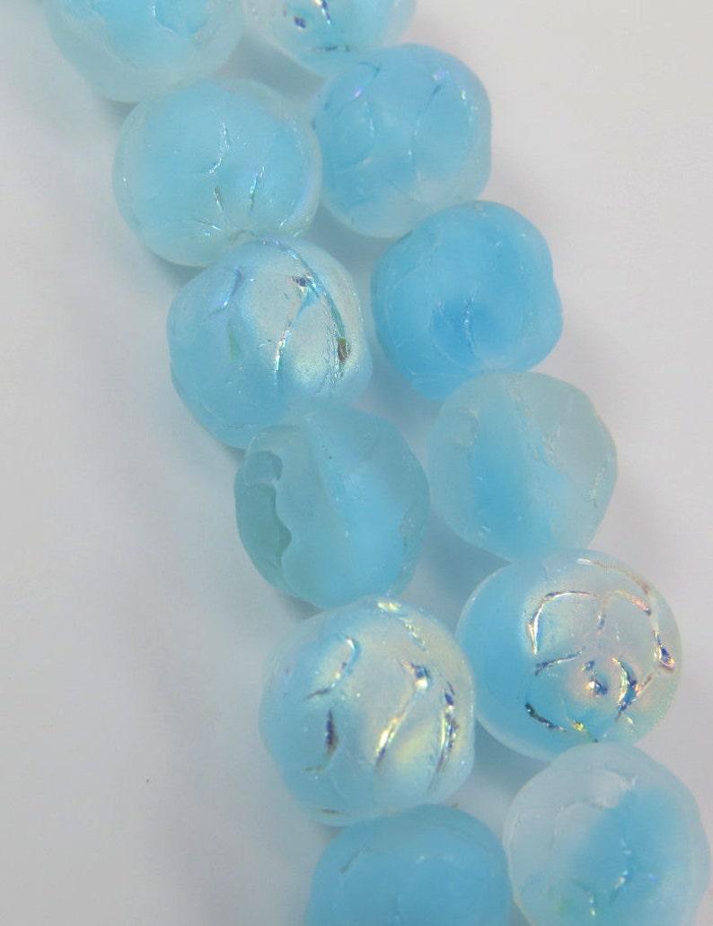 Aqua Blue AB 9MM Round Rose Pressed Czech Glass Druk Frosted Translucent Clear Light Aqua Givre 10 Beads PREROSE9002