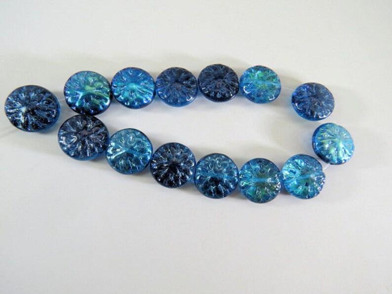 Czech Blue Green AB Dahlia Flower Beads 15MM Translucent Vitral Pressed Coin Glass 6 Beads PRE15DAH001