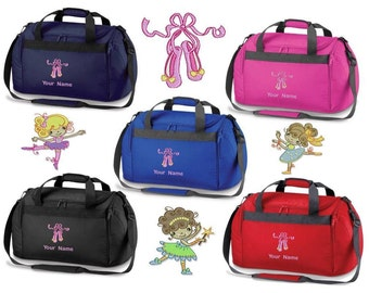 3247615e2dac Personalised Embroidered Holdall With Ballet Image- dance leotard shoes bag  BC1 Personalized Dance Holdall