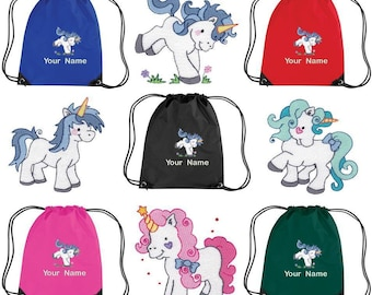 Personalised Embroidered Drawstring Gym Shoe Bag with Unicorns - kids pe  school - personalize item 7dca24e315855