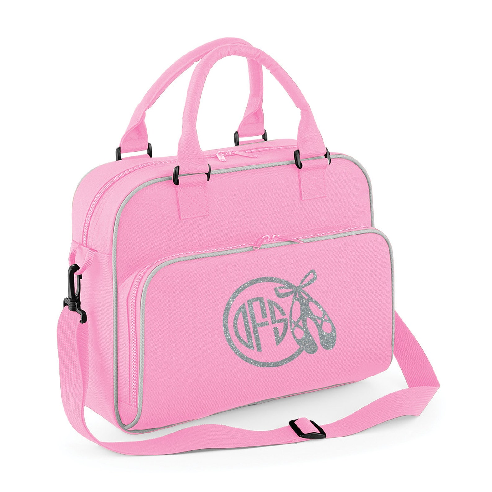 personalised junior ballet dance bag- glitter print with ballet image and monogram name- image 5 personalized ballet bag