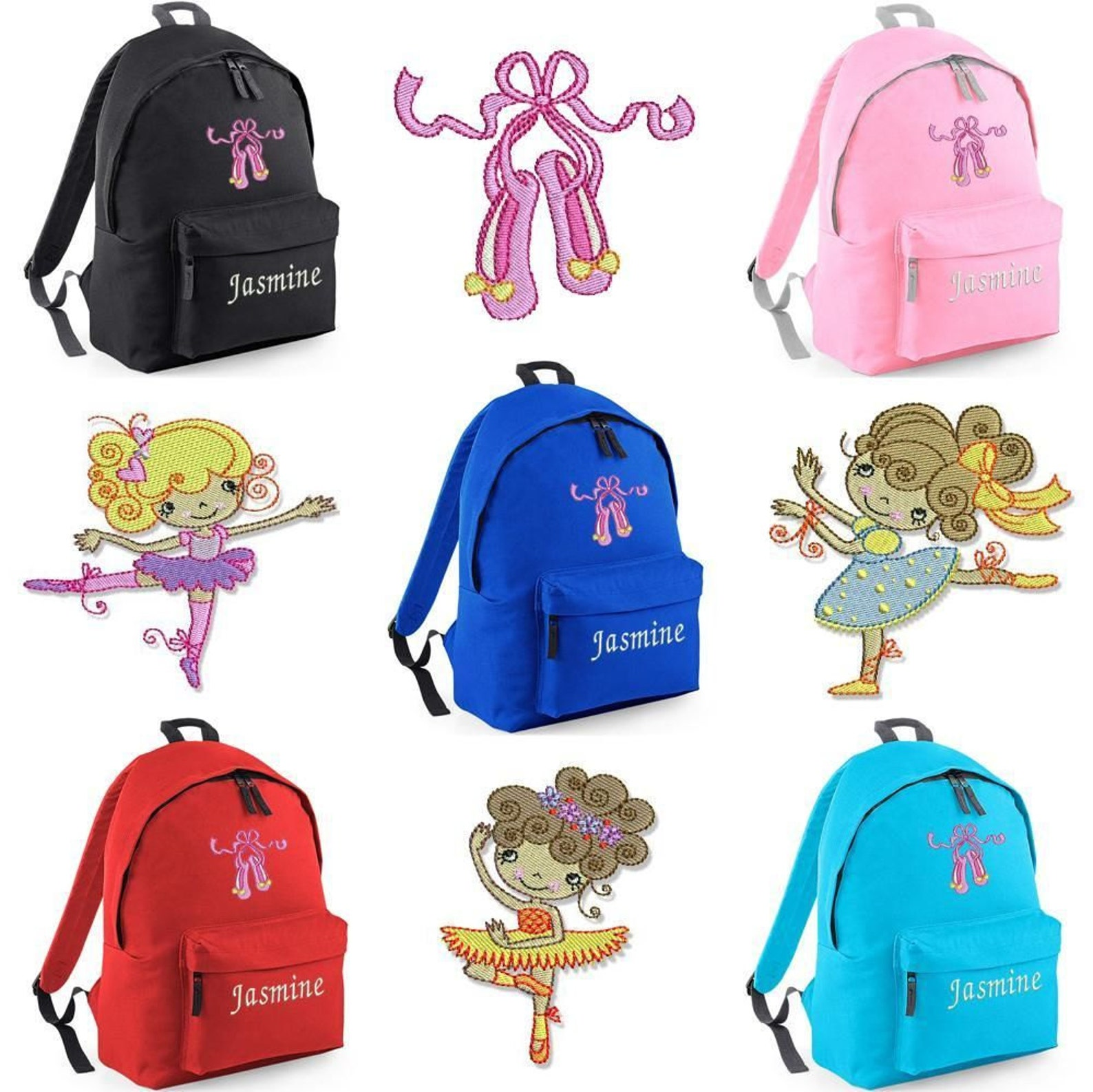 personalised embroidered junior ballet rucksack/backpack dance leotard shoe bag bc1. personalized rucksack/backpack