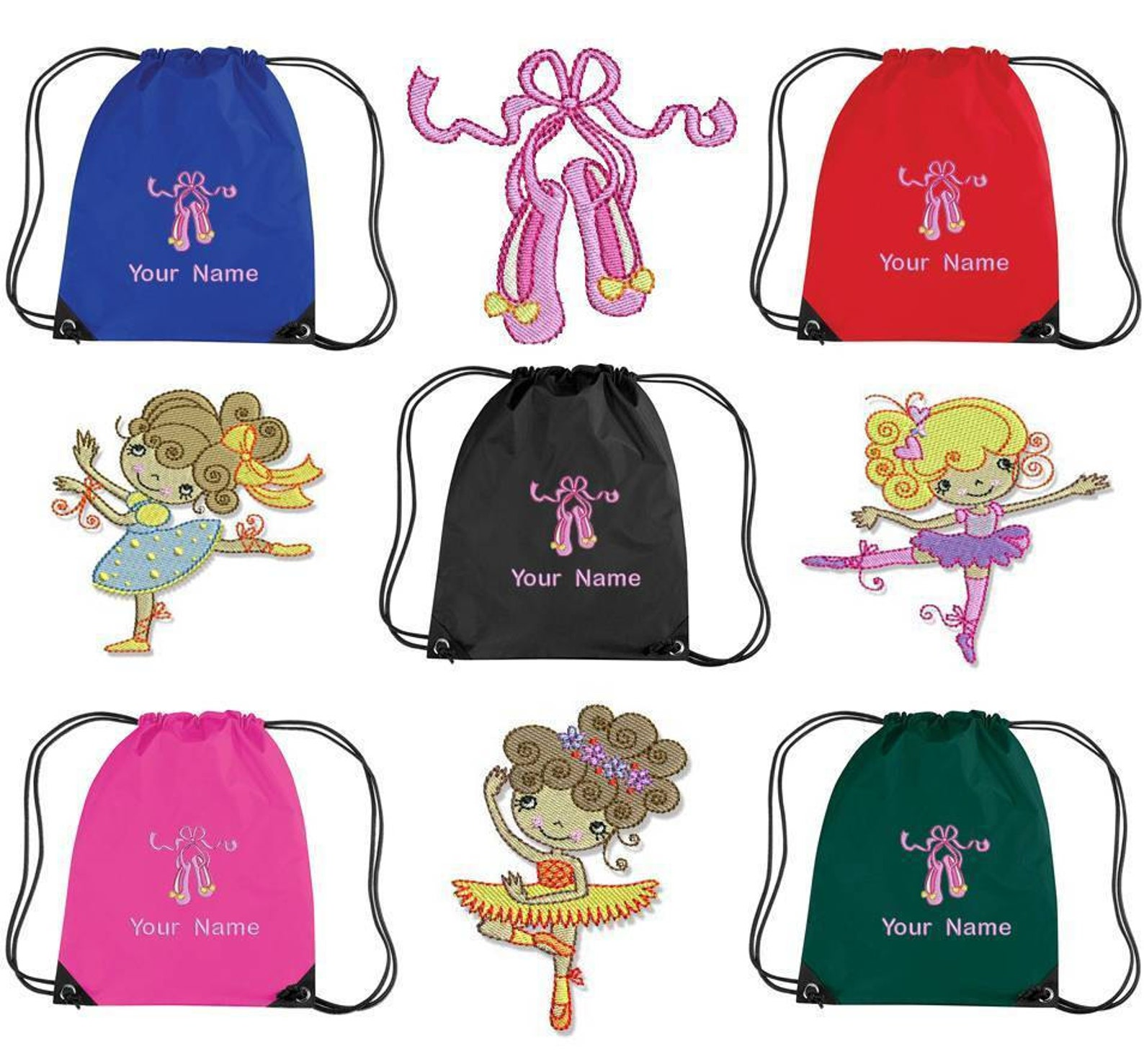 10 personalised embroidered ballet drawstring gym/shoe bag - kids pe school bc1