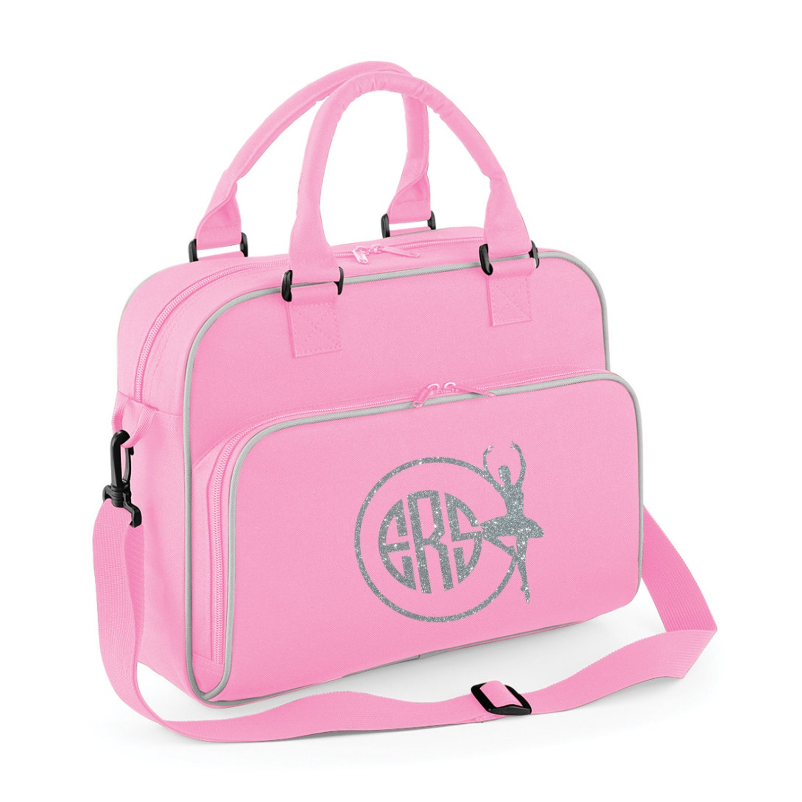 personalised junior ballet dance bag- glitter print with ballet image and monogram name- image 2