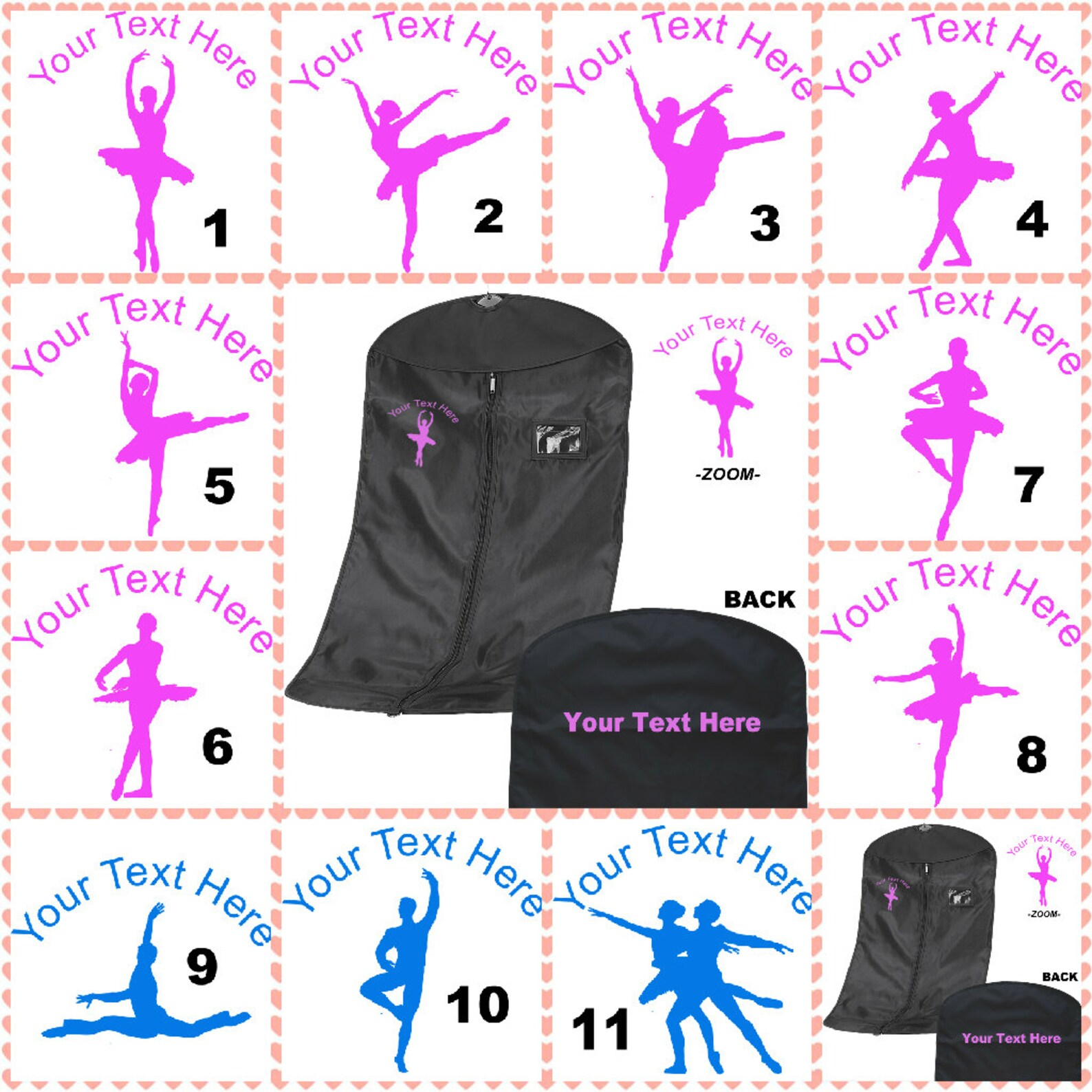 personalised printed ballet/dance suit carrier/costume bag - leotard skirts shoe - personalized item