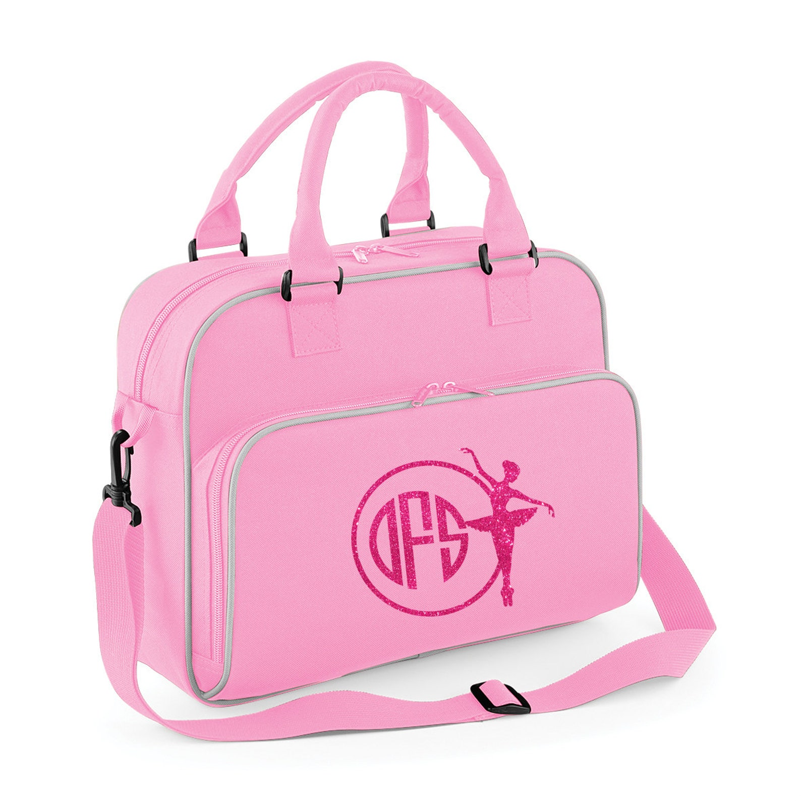 personalised junior ballet dance bag- glitter print with ballet image and monogram name- image 3