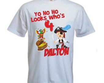 Personalised Childrens Birthday Pirate t shirt