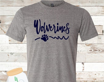 Adult and Youth Wolverines paw Grey Bella Canvas Tee