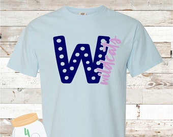 Adult and Youth Wildcats Polkadot Tee