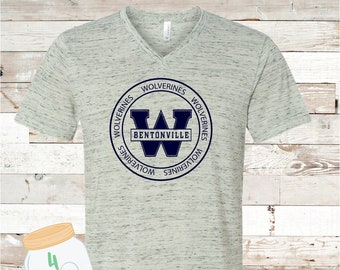 West Wolverines Circle White Marble V-neck Bella Canvas Tee