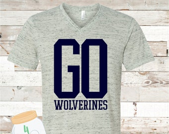 GO Wolverines White Marble V-neck Bella Canvas Tee