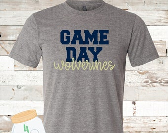 Adult and Youth Game Day Wolverines Navy or Grey Bella Canvas Tee