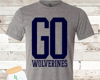 Adult and Youth GO Wolverines Grey Bella Canvas Tee