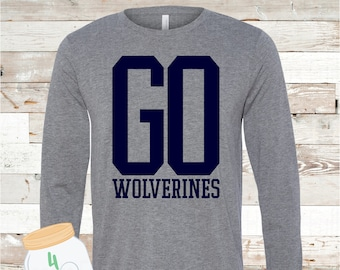 Adult and Youth GO Wolverines Grey long sleeve Tee