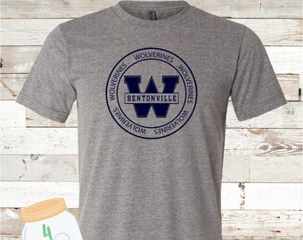 Adult and Youth Circle Wolverines Navy or Grey Bella Canvas Tee