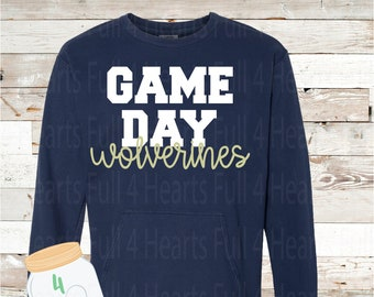 GAME DAY Wolverines Gray or Navy Pullover by Comfort Colors