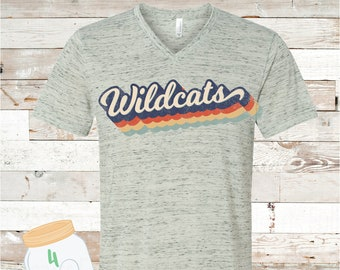 Adult Retro Wildcats Bella Canvas Tee