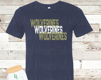 Adult and Youth  Wolverines Navy or Grey Bella Canvas Tee