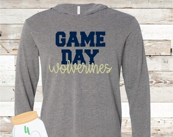 Game Day Wolverines Hooded long sleeve Tee
