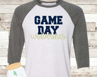 Game Day Wolverines White Raglan Tee
