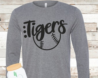 Adult and Youth long sleeve Tigers Baseball Bella Canvas Tee