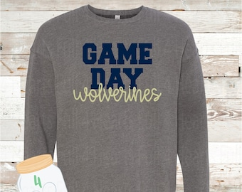 Adult and Youth Game Day Wolverines Navy or Grey Crew Neck Sweatshirt