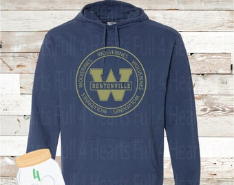 Circle West Wolverines Gray or Navy Hooded Pullover by Comfort Colors