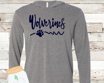 Wolverines with paw Hooded long sleeve Tee