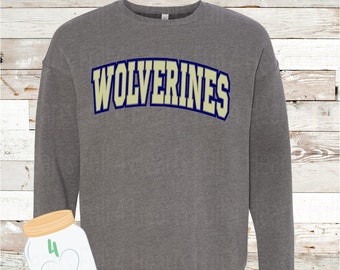 Adult and YOUTH Wolverines Navy or Grey Crew Neck Sweatshirt