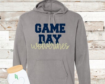Game Day Wolverines Gray or Navy Hooded Pullover by Comfort Colors