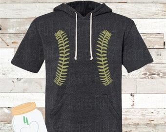Gold baseball laces short sleeve hoodie