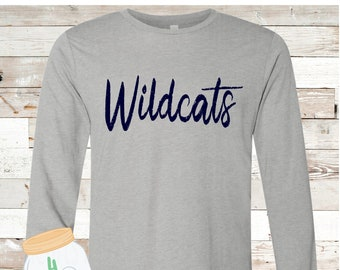 Adult and Youth long sleeve wildcat Bella Canvas Tee