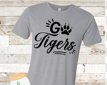 Adult and Youth Go Tigers Bella Canvas Tee