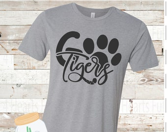 Adult and Youth Go Tigers Paw Bella Canvas Tee