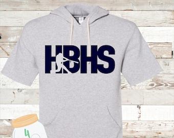 HBHS baseball short sleeve hoodie