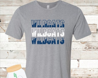 Adult and Youth Wildcats x 3 Navy or Grey Bella Canvas Tee