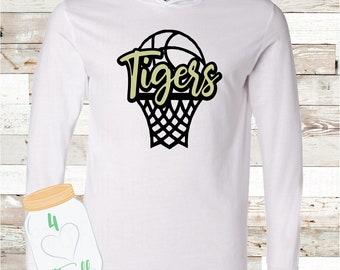 Tigers Basketball White Hooded long sleeve Tee