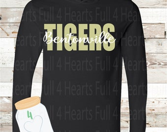 Bentonville Tigers Black or White Hooded long sleeve Tee