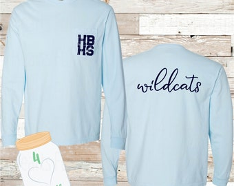 Youth & Adult HBHS Wildcats Long Sleeve Pocket Comfort Colors Tee