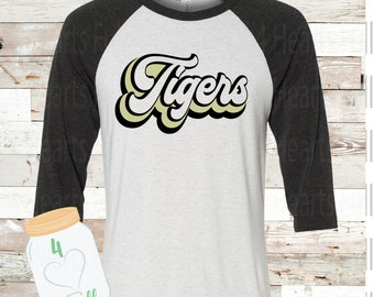 Retro Tigers White Raglan Tee