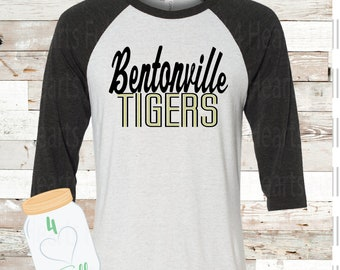 Youth Bentonville Tigers White Raglan Tee