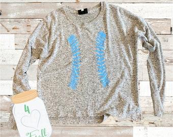 XSmall Adult Baseball Seams cuddle fleece Grey pullover