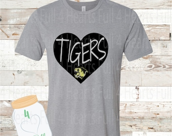 Heart Tigers Gray, or White Tee