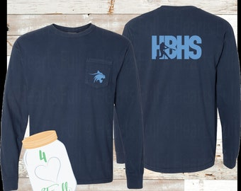 Youth & Adult HBHS Baseball Long Sleeve Pocket Comfort Colors Tee