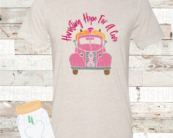 Harvesting For A Cure Breast Cancer Awareness % Proceeds Donated to Susan Komen FALL Halloween Thanksgiving Tee Unisex Adult